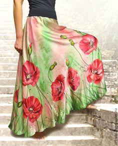 """Beautiful silk skirt with hand painting / Купить Юбка атласная с ручной росписью """"Маки"""" батик - ярко-красный, рисунок, юбка"""