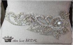 Beaded Sash Couture Embellished Thin Bridal Sash by EdenLuxeBridal