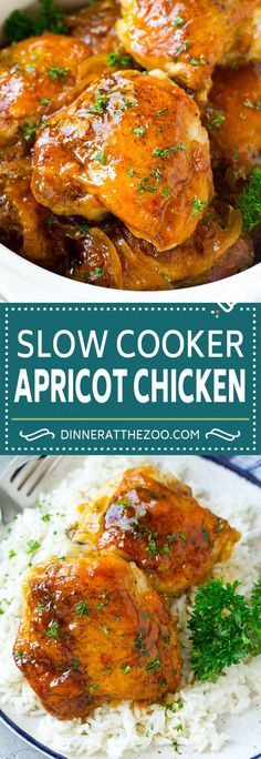 This slow cooker apricot chicken recipe is tender chicken thighs in a delicious sweet and savory sauce. A super easy dinner option! Best Slow Cooker, Crock Pot Slow Cooker, Slow Cooker Recipes, Cooking Recipes, Healthy Recipes, Slow Cooking, Apricot Chicken Slow Cooker, Chicken Cooker, Super Easy Dinner