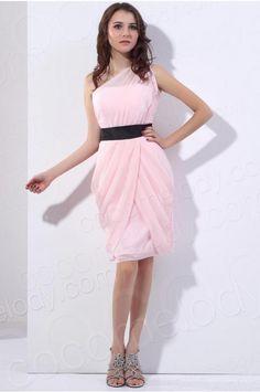 c1e6d2fccaf Divine Sheath Column One Shoulder Knee Length Chiffon Pink Bridesmaid Dress  COZK13008  bridesmaiddress  cocomelody