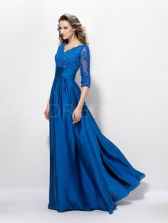 Charming V Neck A-Line Appliques Sequins Half Sleeves Floor-Length Mother of the Bride Dress 3 Semi Formal Dresses, Dressy Dresses, Sexy Dresses, Bride Dresses, Blue Ball Gowns, Evening Dresses With Sleeves, Mothers Dresses, Floor Length Dresses, Beaded Lace