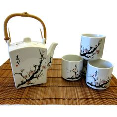 Beautiful White Cherry Blossom Tea Set - Unique tea pot with matching tea cups, made in Japan!