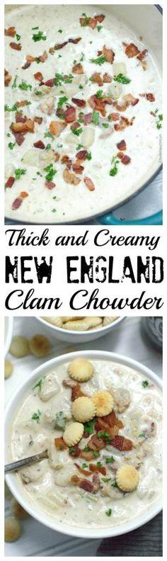 New England Clam Chowder Recipe - Butter Your Biscuit - Atıştırmalıklar - Las recetas más prácticas y fáciles Seafood Soup Recipes, Creamy Soup Recipes, Clam Chowder Recipes, Seafood Appetizers, Seafood Dishes, Thick And Creamy Clam Chowder Recipe, Clam Chowder Soup, Clams Seafood, Fish Chowder