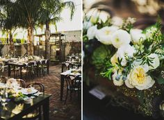 Whimsical green and white centerpieces  Ariel Renae Photography