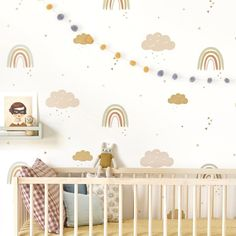 Our Rainbows wallpaper will transform your baby's nursery, child's bedroom or kids playroom into a happy, joyful and stylish space. Rainbow Wallpaper, Rose Wallpaper, Kids Wallpaper, Wallpaper Childrens Room, Baby Nursery Wallpaper, Playroom Wallpaper, Wallpaper Direct, Baby Bedroom, Nursery Room