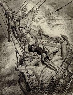 """""""It flung the blood in to my head..."""" (Rime of the Ancient Mariner) - Gustave Dore illustrator"""