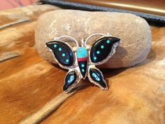 Zuni Jet Turquoise And Coral Inlay by SpavinawCreekGallery on Etsy