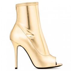 e905807320 Gold Metallic Peep Toe Booties Stiletto Heels Ankle Boots for Work, Formal  event, Night
