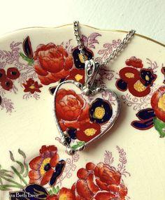 Broken china heart necklace pendant antique Royal Cauldon china England broken china jewelry