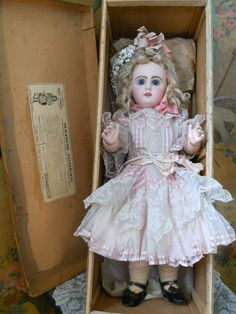 ~~~ Gorgeous French Bisque Bebe by Jumeau in Box ~~~ from whendreamscometrue on Ruby Lane