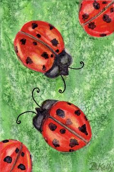 Print of Watercolor Ladybugs with Salt Textures 4x6 by BKellyArt