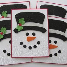 Your place to buy and sell all things handmade Embossed Snowman Christmas Cards Embossed Snowman Cards Christmas Card Crafts, Homemade Christmas Cards, Christmas Cards To Make, Christmas Greetings, Homemade Cards, Christmas Decorations, Christmas Snowman, Diy Holiday Cards, Cards Diy