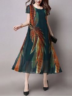 Hot saleElegant Women Floral Printed Short Sleeve Mid-Long Dresses Cheap - NewChic Mobile.