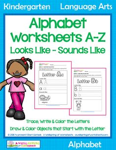 These alphabet worksheets a-z give kids the opportunity to write and trace the letters and draw a picture of something else that starts with that letter. Printing Practice, Kindergarten Language Arts, Name Letters, Letter Of The Week, Alphabet Worksheets, Common Core Standards, My Teacher, How To Better Yourself, Opportunity