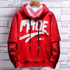 d0470ad2d3c4 Winter Plus Size Thick Loose Pullover Men'S Hooded Sweater Print Tops