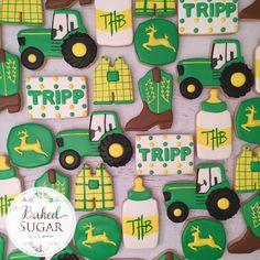 John Deere baby shower set. #customcookies... - Baked Sugar Bakery