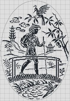Traditional Chinese man - Chart for cross stitch or filet crochet. Filet Crochet, Crochet Motifs, Crochet Cross, Crochet Chart, Crochet Patterns, Funny Cross Stitch Patterns, Cross Stitch Freebies, Cross Patterns, Cross Stitch Designs
