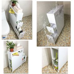 Bathroom Wooden Cabinet Toilet Paper Roll Holder Slimline Storage Organiser UK
