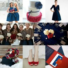 Red and blue wedding theme