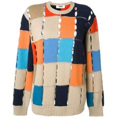 MSGM Colour Block Jumper ($401) via Polyvore featuring tops, sweaters, multi color sweater, jumpers sweaters, jumper top, color block sweater and color block tops