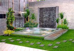 Brilliant Diy Backyard Ideas On A Budget - Backyard Best Home Design Circular Garden Design, Brick Garden Edging, Garden Pond Design, Waterfall Design, Garden Waterfall, Home Design, Design Ideas, Outdoor Waterfalls, Minimalist Garden