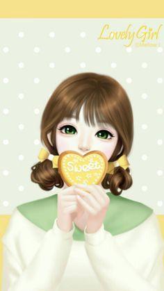 Image about cute in Lovely Girl💋 by ChiangWaiFun Love Cartoon Couple, Cute Cartoon Girl, Anime Girl Cute, Anime Art Girl, Manga Girl, Anime Girls, Pretty Drawings, Beautiful Drawings, Beautiful Images