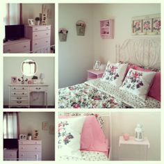 My Shabby Chic Bedroom Using Ikea Leirvik Bed Frame, Emmie Blom Bedding, Emmie Stra Throw Pillows, Tarva Dressers (painted), & Accessories!