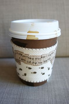 Cross stitched coffee sleeve, Harry Potter design