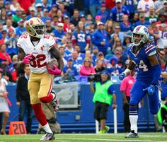 49ers vs. Bills:     October 16, 2016  -  45-16, Bills  -    San Francisco 49ers wide receiver Torrey Smith (82) gets past Buffalo Bills cornerback Stephon Gilmore (24) for a touchdown during the first half of an NFL football game on Sunday, Oct. 16, 2016, in Orchard Park, N.Y.