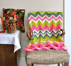 Psychedelic Zigzag Afghan Wool Neon Pink Lime Green by ohthisnose, $210.00