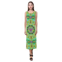 Wood and metal in a rainbow pattern forest Phaedra Sleeveless Open Fork Long Dress (Model D08)
