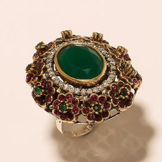 HIGH QUALITY TURKISH HURREM SULTAN 925 STERLING SILVER EMERALD RUBY RING JEWELRY #Handmade