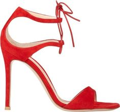 """Gianvito Rossi Tabasco Red suede stiletto-heel sandals styled at ankle with ghillie-style lacing. 4"""" (105mm) heel, approximately. Open toe, double ankle straps with ghillie-style lacing, covered heel counter, suede-covered stiletto heel, thin leather laces. Ties at ankle. Leather sole. Available in Tabasco Red. Made in Italy."""
