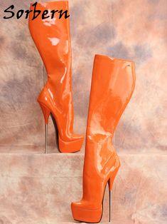 Ballet Boots, Ballet Heels, High Heel Boots, Heeled Boots, Pencil Heels, Super High Heels, Crossdressers, Orange, Metal