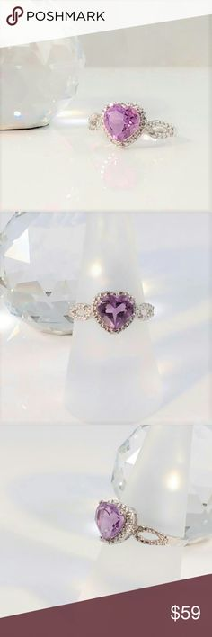 NEW LISTING Amethyst Heart & Genuine Diamond Ring Excellent genuine amethyst heart cut, semiprecious gemstone measures 8mm and is 1.6 carats. It is accented with two round cut 0.9mm genuine diamond accents. This lovely size 6-3/4 ring is platinum over sterling silver. This feminine ring will make an elegant addition to your closet. New. Measurements and weights are approximate. Photos may be enlarged to show detail. Jewelry Rings
