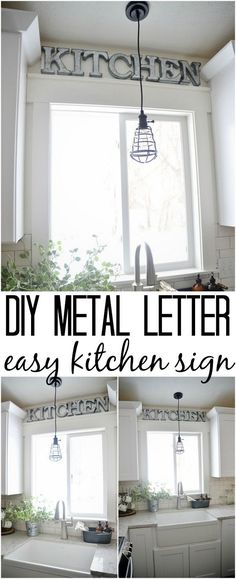 The easiest DIY metal letter kitchen sign - could make for any room of your hous. The easiest DIY metal letter kitchen sign - could make for any room of your house. Super easy & quick to make to add that industrial farmhouse charm. Diy Kitchen Decor, Farmhouse Kitchen Decor, Kitchen Redo, New Kitchen, Diy Home Decor, Kitchen Cabinets, Country Kitchen, Kitchen Styling, Kitchen Worktop