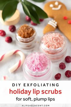 DIY Holiday Lip Scrubs. Learn how to make 4 simple Christmas lip scrub recipes for soft lips! Includes delicious winter flavours: peppermint candy cane, gingerbread, cranberry and spiced orange. These moisturizing and plumping recipes are made with natural ingredients like sugar, coconut oil and essential oils. Also makes an easy homemade gift! #lipscrub #alifeadjacent #sugarscrub #diybeauty Easy Homemade Gifts, Peppermint Candy Cane, Orange Lips, Sweet Orange Essential Oil, Lip Scrubs, Soft Lips, Beauty Recipe, Natural Skin Care, Natural Beauty