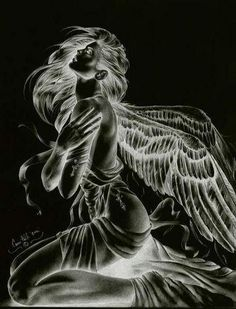 Angel or fairy animated gif Dark Fantasy Art, Fantasy Art Women, Ange Demon, Demon Art, Angel Artwork, Gothic Artwork, Angel Drawing, Angel Tattoo Designs, Angel And Devil