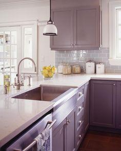 A Modern Farmhouse Kitchen In The English Countryside Purple Cabinetsgrey