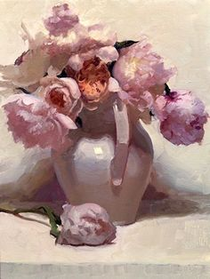 Peonies with Juliet  by Dennis Perrin  OIl on Canvas 24 x 18