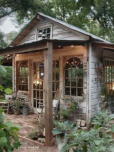 this. Big open windows. Simple little cabin like or she shed ...