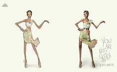 Powerful message: The ads, which run with the tag line Say no to anorexia, show a fashion illustration with typically exaggerated proportions next to a model wearing the same outfit - and the same measurements