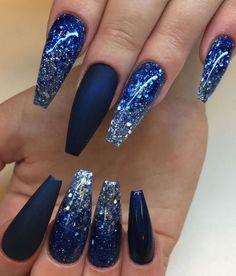 Midnight Blue Blue Glitter Naglar Nagelkar Nagelteknolog