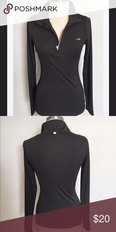 """Champion 1/4 Zip Supersoft Semi-Fitted Pullover, S Very nice pullover that is still in brand-new condition. Solid black with the champion logo on the chest. Very nice semi fitted design for a great look. Sheer mesh open panels under the shoulders. Bust is 36"""" and total length is 23.5"""". From a smoke and pet free home. Bundle with over 200 items for an additional 20% off or more! Champion Tops"""