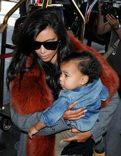 Kim Kardashian and North West at LAX