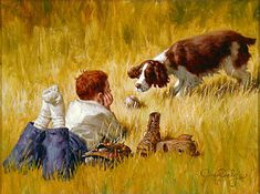 """""""Just One More Throw"""", by American artist - Jim Daly, (1940 - ), Original Oil - SOLD."""