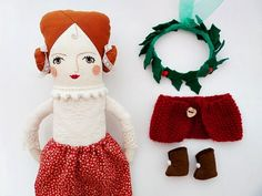 "Winter Rag Doll Christmas Forest Accesories by supercursi Spain $85 Measures:14.2"" / 36 cm  fabric, felt, mini pompoms, lace, pompom trim, acrylic yarn, wooden button, rick rack, wire, tulle"