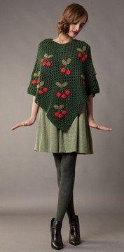 \u003c3 poncho in lana con realizzato con la tecnica all\u0027uncinetto,le  applicazioni