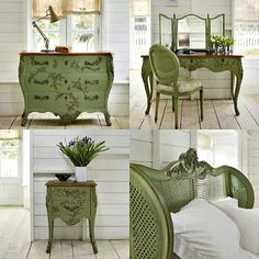 And So To Bed - Floral Collection. Wooden caned bed www.andsotobed.co.uk Repurposed Furniture, Painted Furniture, Rose Cottage, Headboards For Beds, House And Home Magazine, Upholstered Chairs, Sweet Home, Bedroom Decor, House Design