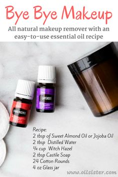 All natural makeup remover with an incredibly simple and effective DIY recipe. This DIY personal care recipe utilizes essential oils, witch hazel, castile soap, and a carrier oil. natural make up diy How to Make Natural Makeup Remover with Essential Oils Essential Oils Guide, Young Living Essential Oils, Essential Oil Blends, Homemade Makeup Remover, Diy Natural Makeup Remover, Toxin Free Makeup Remover, Diy Makeup Remover Wipes, All Natural Makeup, Natural Beauty